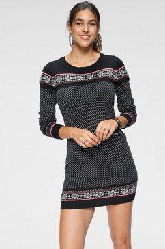 kangaroos tricot-jurk met noorse motieven zwart