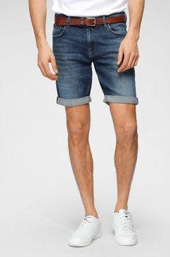 tom tailor denim jeansshort met lichte used-effecten blauw