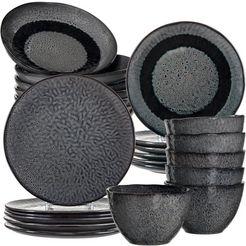 leonardo combi-servies matera rustieke uitstraling (set, 24 delig) grijs
