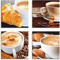 artland artprint op linnen koffiekopjes en krant, café au lait (4 stuks) beige