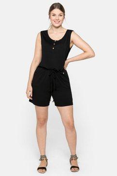 sheego jumpsuit in mouwloos model, met sierknopen zwart