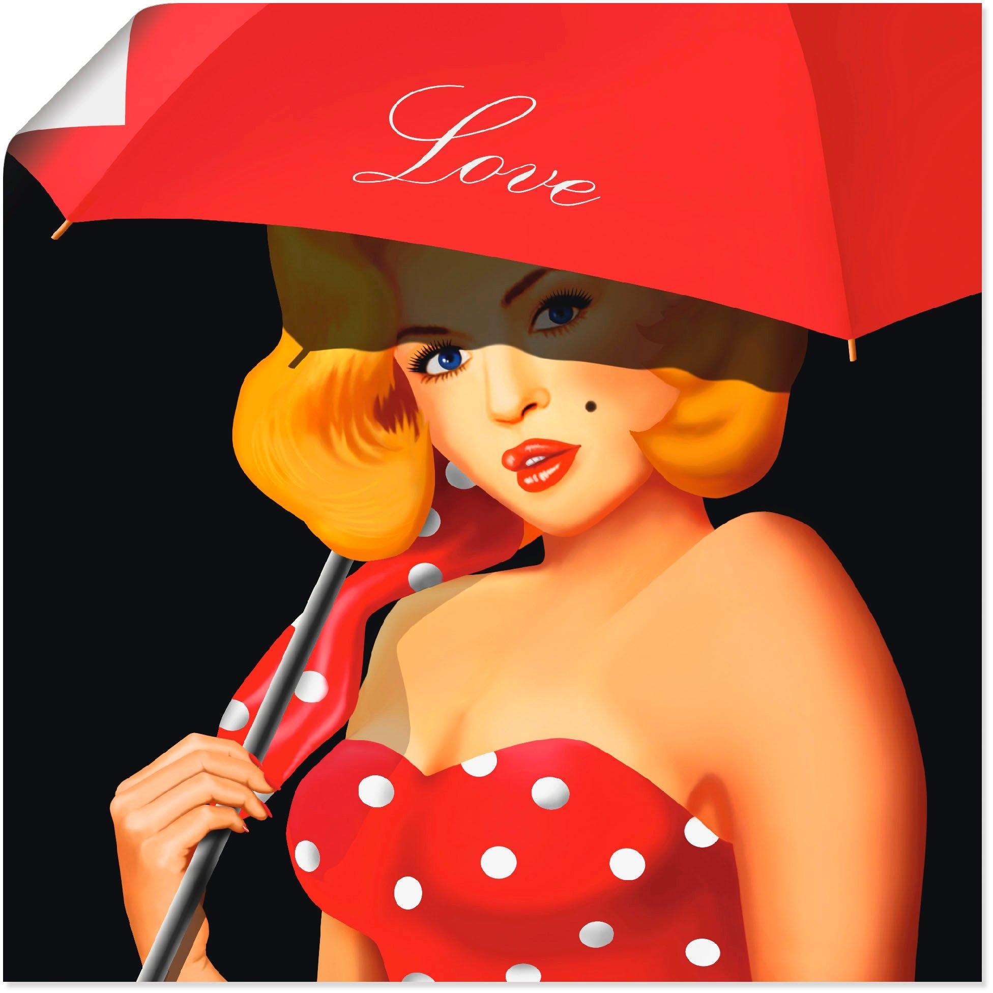 Artland artprint Pin-upgirl onder rode paraplu in vele afmetingen & productsoorten - artprint van aluminium / artprint voor buiten, artprint op linnen, poster, muursticker / wandfolie ook geschikt voor de badkamer (1 stuk) nu online kopen bij OTTO