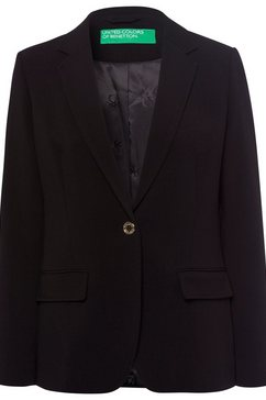 united colors of benetton lange blazer met decoratieve logoknoop en logovoering zwart