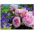 artland print op glas rozen en blauwklokjes (1 stuk) roze