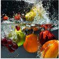 artland print op glas fruit in opspattend water (1 stuk) multicolor