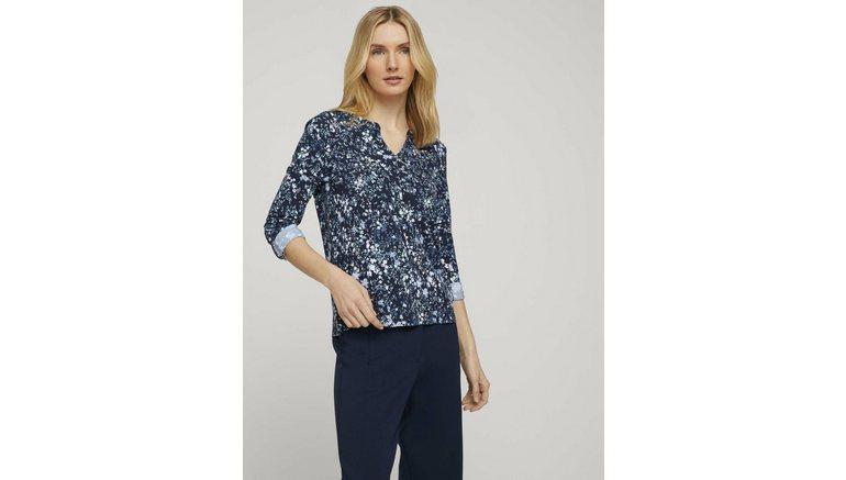 Tom Tailor shirt met lange mouwen »gemusterte Bluse mit Henleyausschnitt«