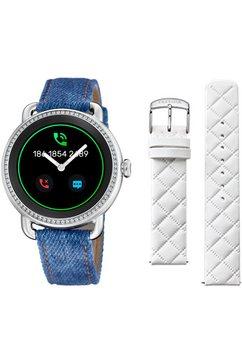 festina smartwatch smartime, f50000-1 (set, 3-delig, met verwisselbare band en oplaadbasis) blauw