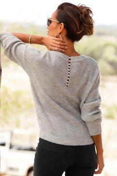 lascana trui met v-hals met sierkraaltjes achter grijs