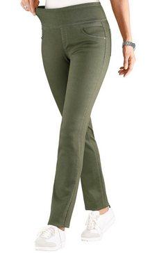 casual looks broek met hoge rondom elastische band groen