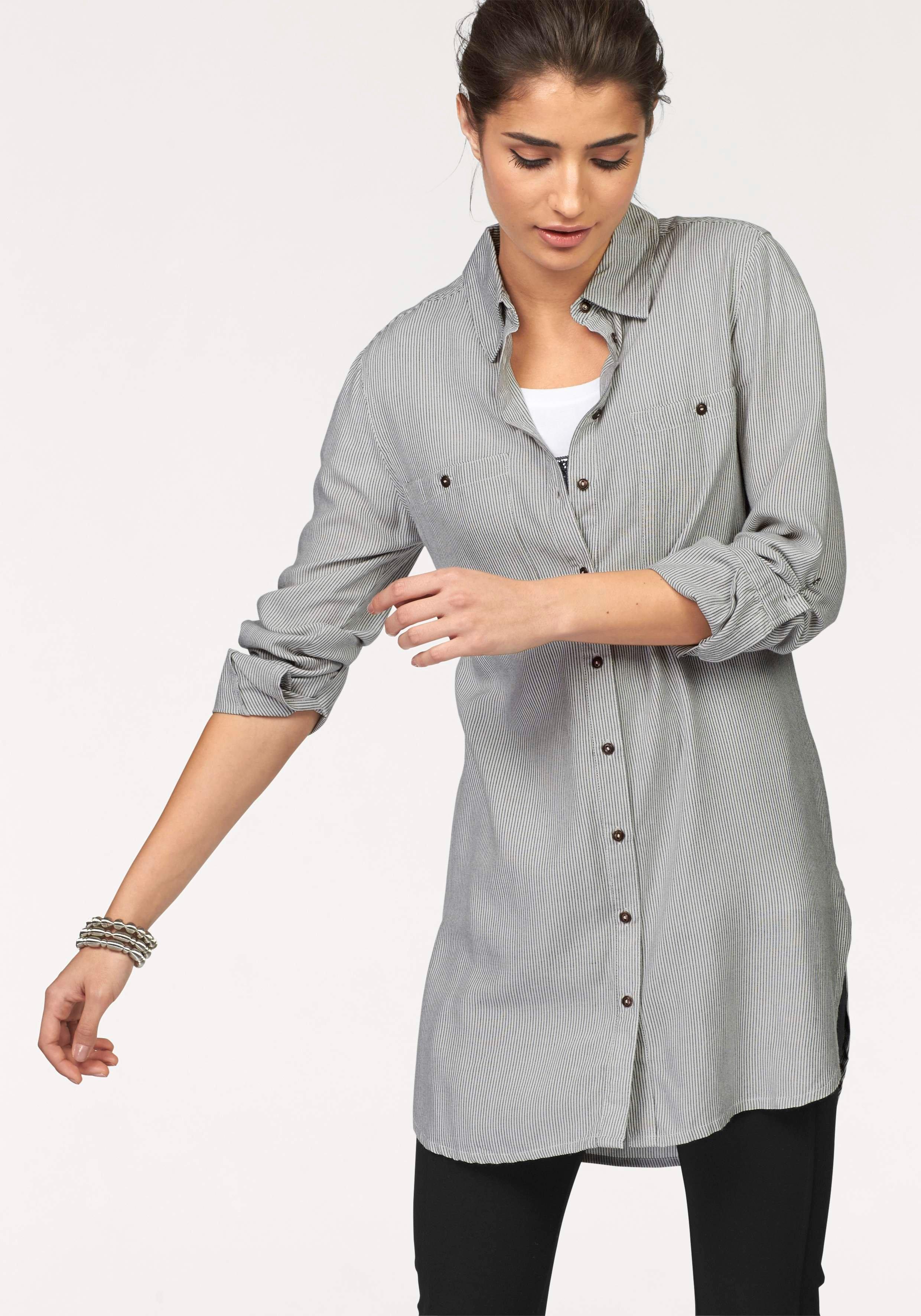 Boysen's lange blouse met fijn streepdessin voordelig en veilig online kopen
