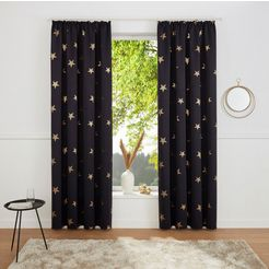 my home gordijn »blackout curtain with foil print star« zwart