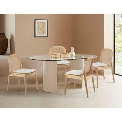 leger home by lena gercke eetkamerstoel mavie set van 2, massief hout met rotaninzet, incl. zitkussen (set) beige