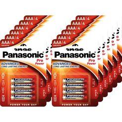 panasonic batterij alkaline, micro, aaa, lr03, 1.5v, pro power, retail blister (48 stuks) goud