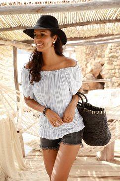 lascana shirt met carmenhals in streep-look wit