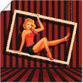 artland artprint schoonheid van de jaren 50 in vele afmetingen  productsoorten - artprint van aluminium - artprint voor buiten, artprint op linnen, poster, muursticker - wandfolie ook geschikt voor de badkamer (1 stuk) rood