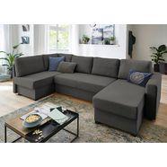 atlantic home collection zithoek met slaapfunctie, binnenveringsinterieur, bedkist, hoek en longchair aan beide kanten te monteren zwart