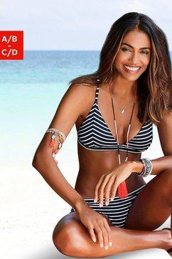 s.oliver red label beachwear triangel-bikinitop hill gestreept zwart