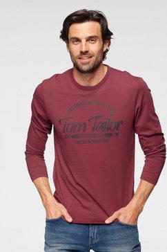 tom tailor shirt met lange mouwen met logo-frontprint rood