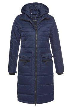 alpenblitz winterjack jakarta long lange gewatteerde jas met een afneembare capuchon en grote, opgestikte zakken blauw