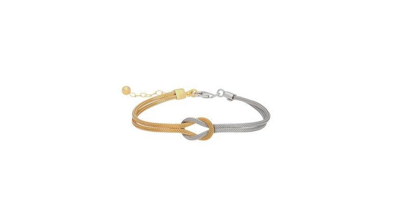 Firetti zilveren armband »Kreuzknoten, Bicolor-Design, mehrreihig, rhodiniert, vergoldet, strukturiert,hohl«