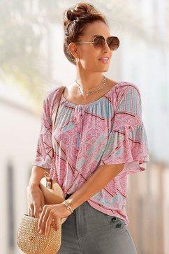 vivance shirt met carmenhals met patchworkprint multicolor