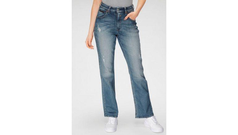 Herrlicher bootcut jeans TOUCH HI BOOT ORGANIC DENIM met destroyed-effecten