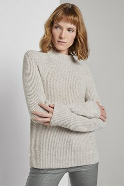 tom tailor trui met staande kraag »stehkragen pullover mit raglanaermeln« grijs
