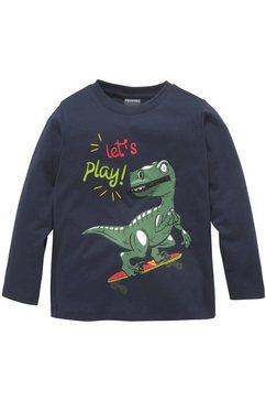 kidsworld shirt met lange mouwen dino met sierrits blauw