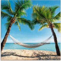artland print op glas palmenstrand caribic met hangmat (1 stuk) blauw