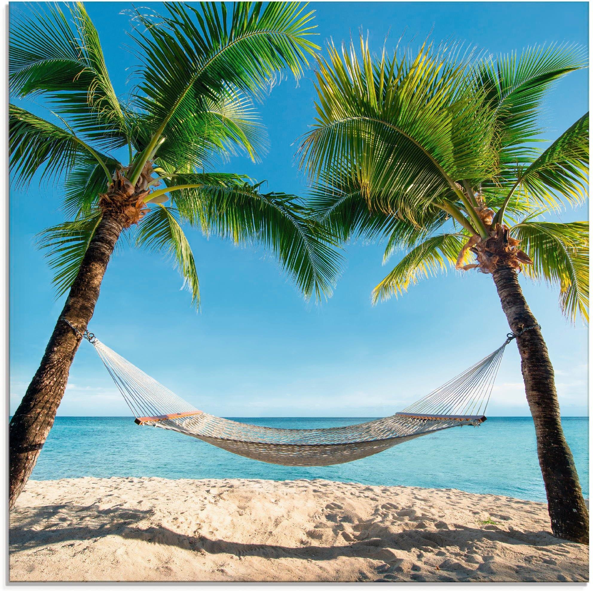 Artland Print op glas Palmenstrand Caribic met hangmat (1 stuk) voordelig en veilig online kopen