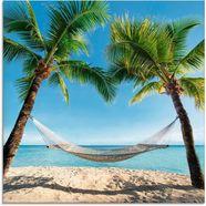 artland print op glas »palmenstrand karibik mit haengematte« blauw