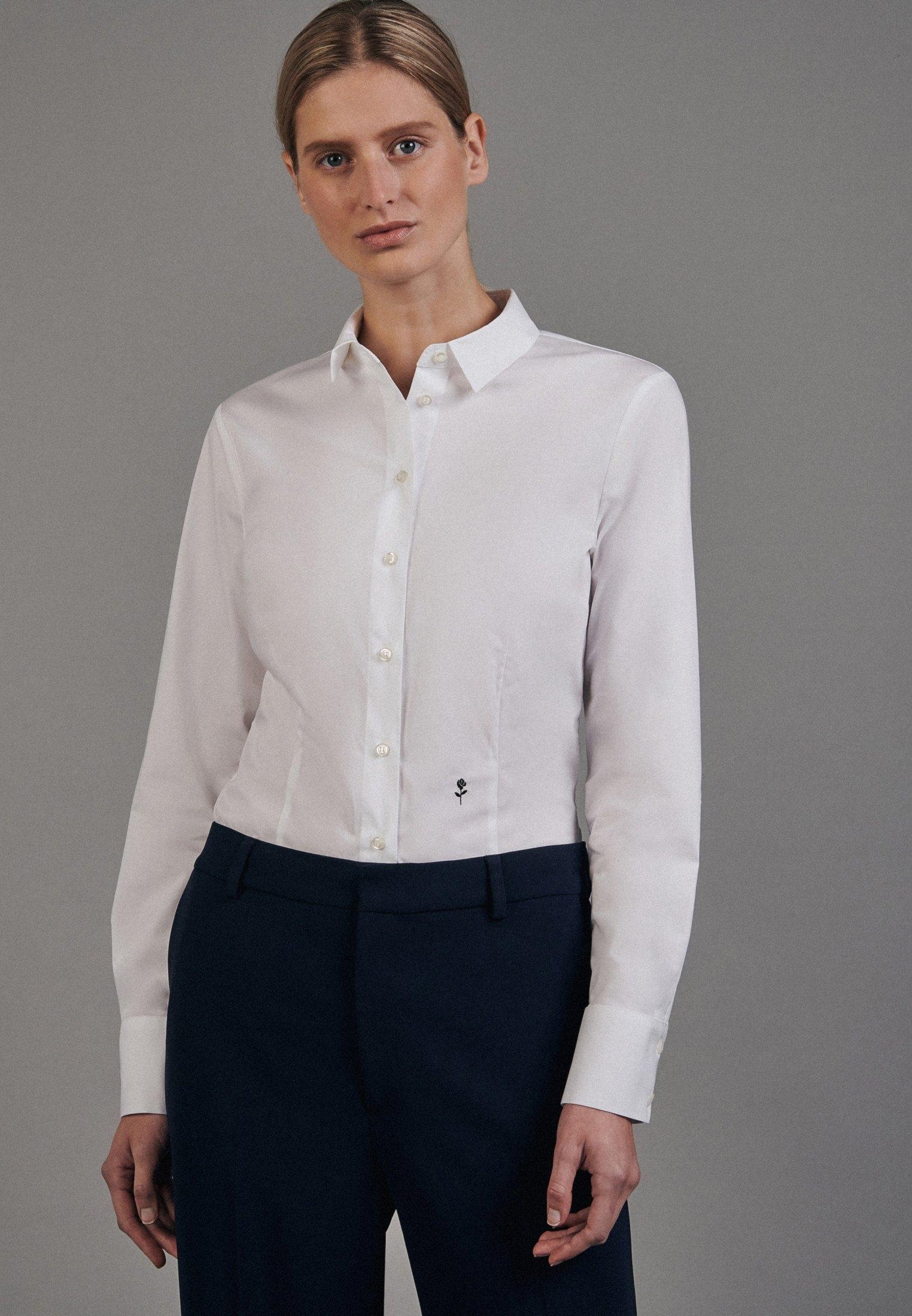 seidensticker Klassieke blouse Zwarte roos Lange mouwen kraag uni voordelig en veilig online kopen