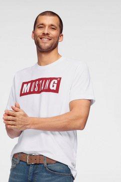 mustang t-shirt met logo-frontprint wit