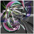 artland print op glas fractaal spel met noten (1 stuk) multicolor