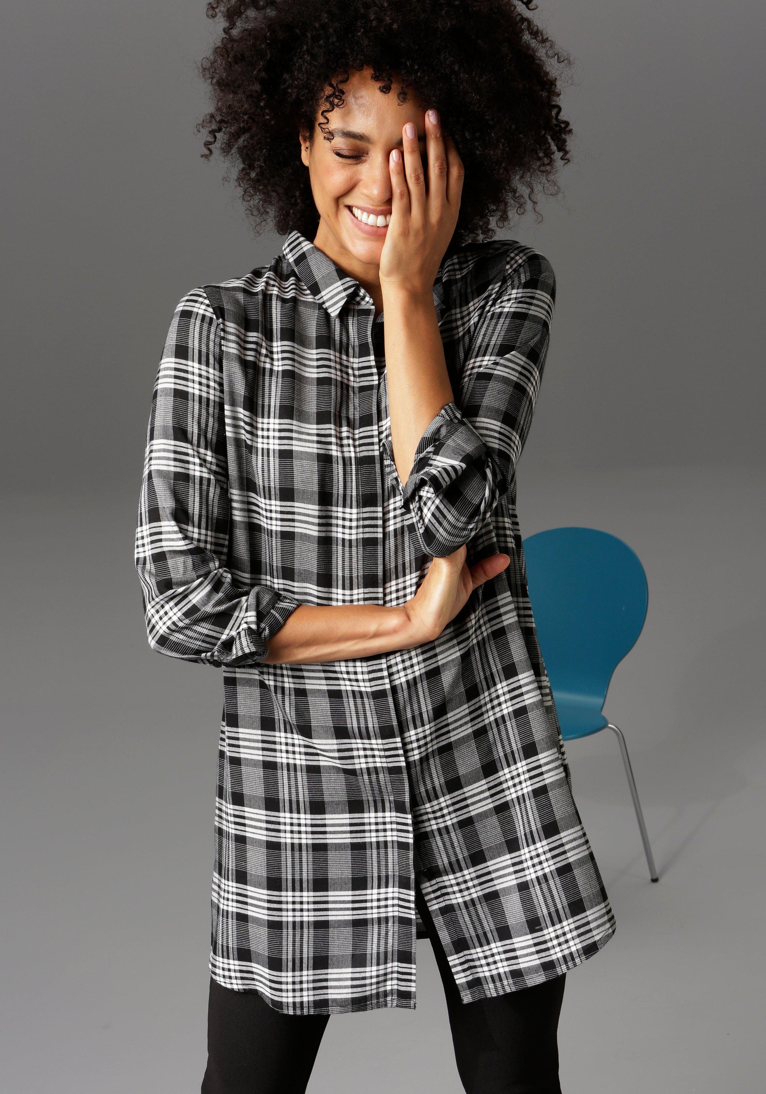 Aniston CASUAL lange blouse met ruitdessin - nieuwe collectie goedkoop op otto.nl kopen
