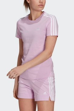 adidas performance t-shirt »essentials slim 3-streifen« paars