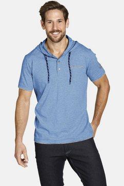 jan vanderstorm capuchonshirt offe casual hoodie met korte mouwen blauw