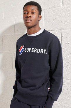 superdry sweatshirt sportstyle applique crew blauw