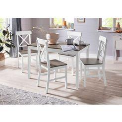 homexperts eethoek milow van massief hout, bestaand uit eettafel breedte 118 cm en 4 stoelen (set, 5-delig) grijs