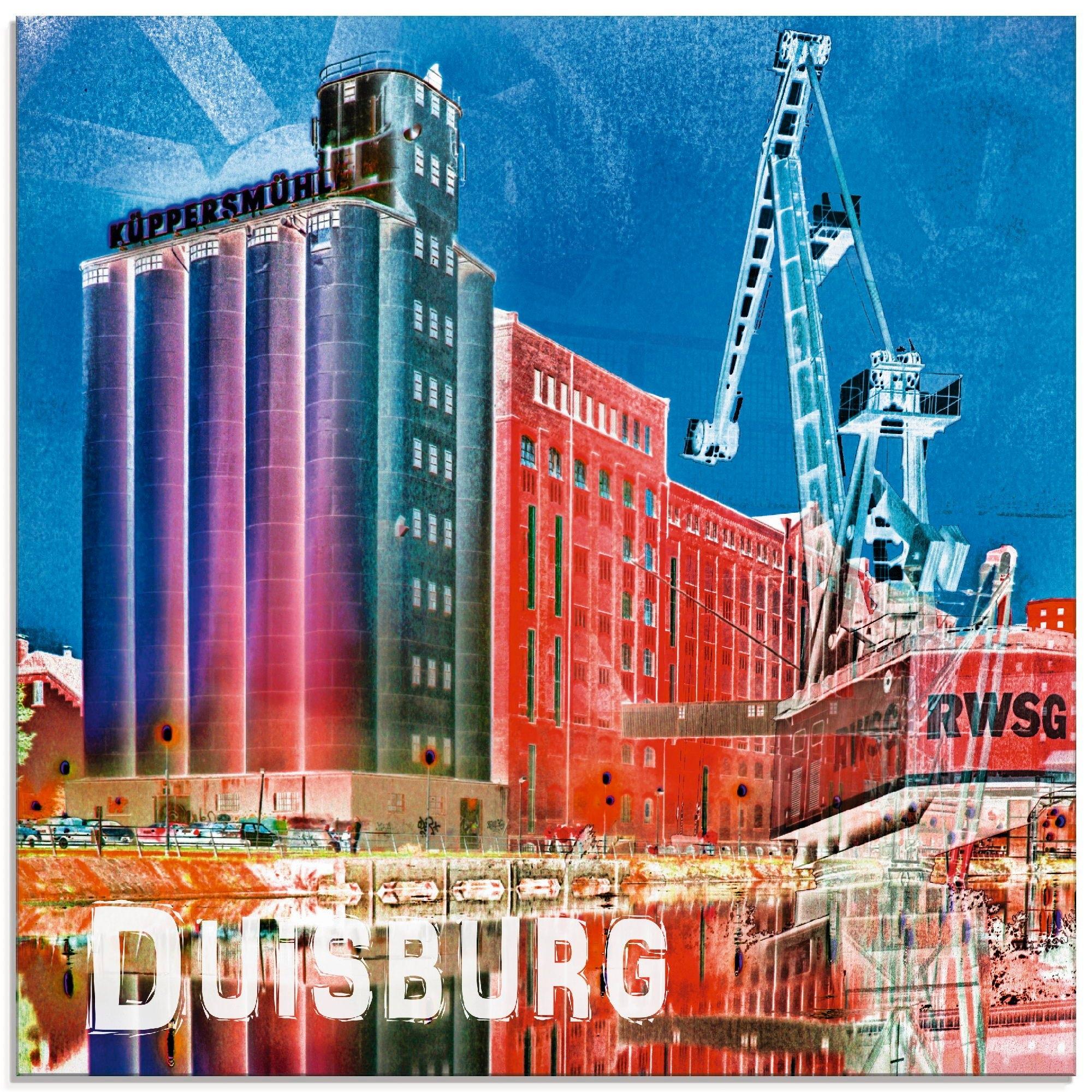 Artland print op glas »Duisburg Collage Stadtansicht 09« nu online bestellen