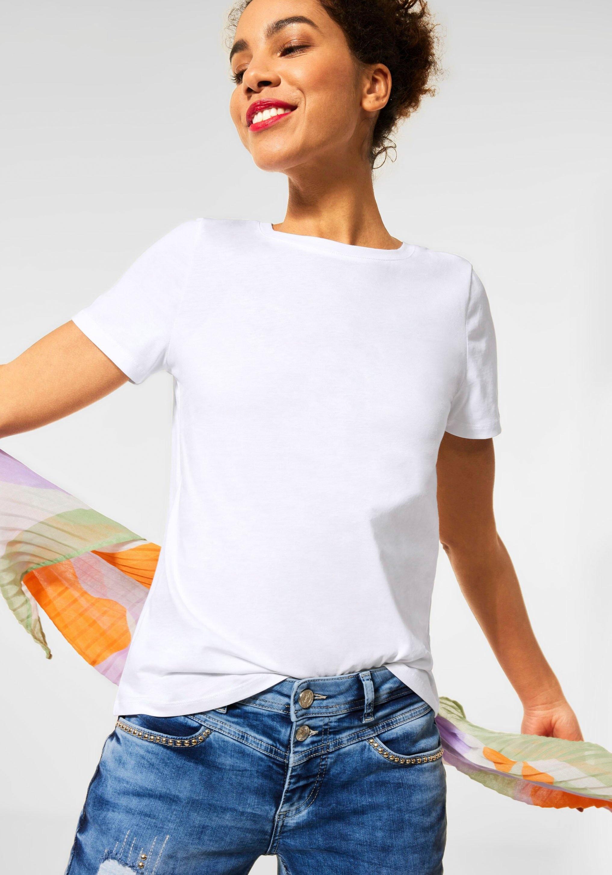 STREET ONE T-shirt in uni basic-look voordelig en veilig online kopen