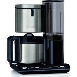 bosch filterkoffieapparaat tka8a683 styline, 1,1 l, met thermoskan zwart