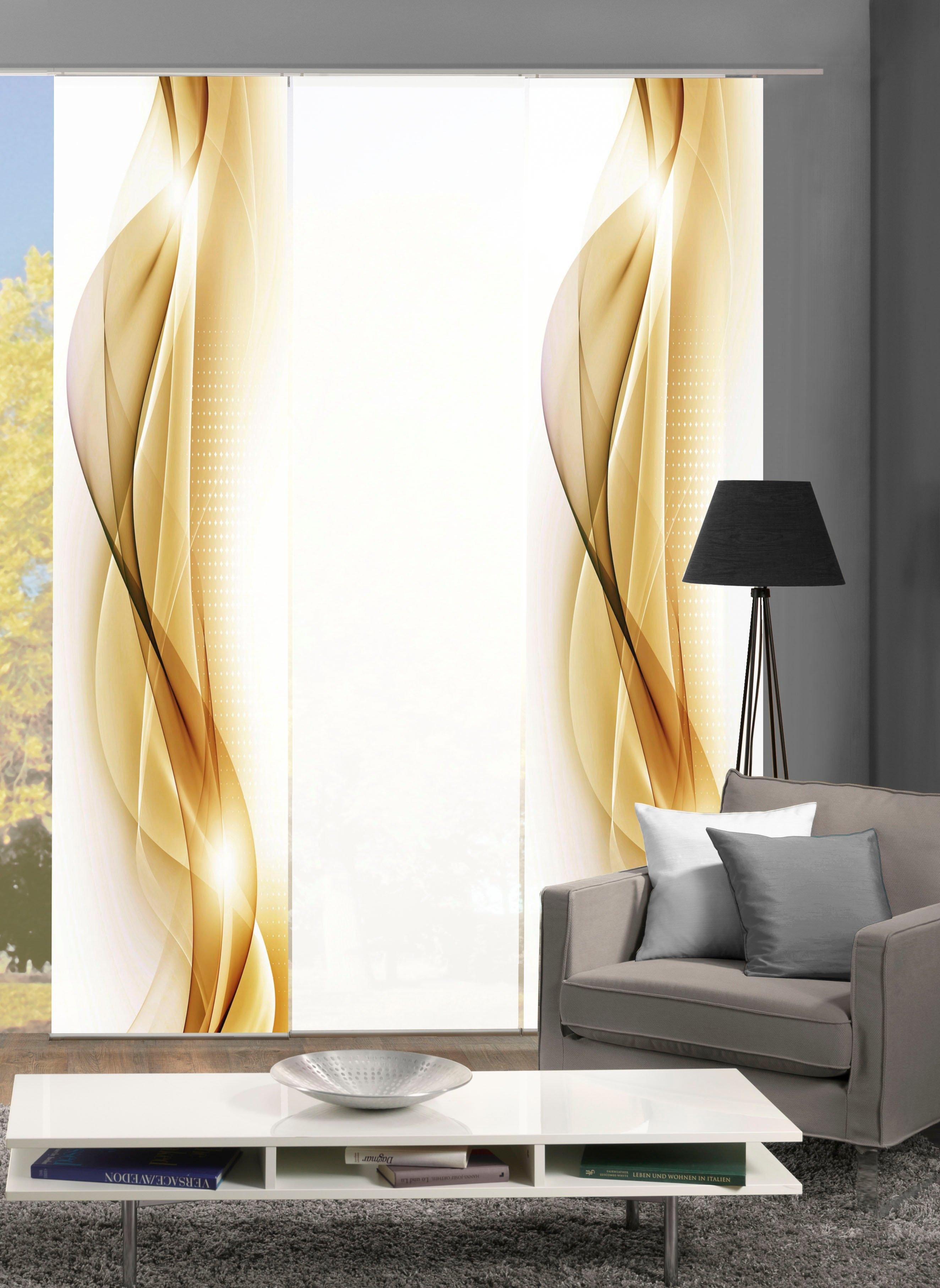 HOME WOHNIDEEN paneelgordijn NEBLANA set van 3 Gordijnstof in zijde-look, digitaal bedrukt (3 stuks) bij OTTO online kopen
