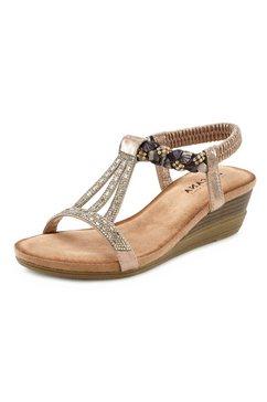 lascana sandalen met siersteentjes en elastische riem goud
