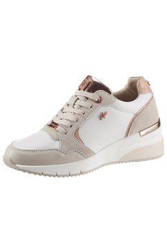 mexx sneakers met sleehak gena met rozegoudkleurige details beige