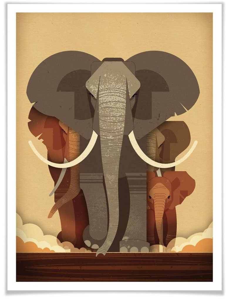 Wall-Art poster Elephants Poster, artprint, wandposter (1 stuk) online kopen op otto.nl