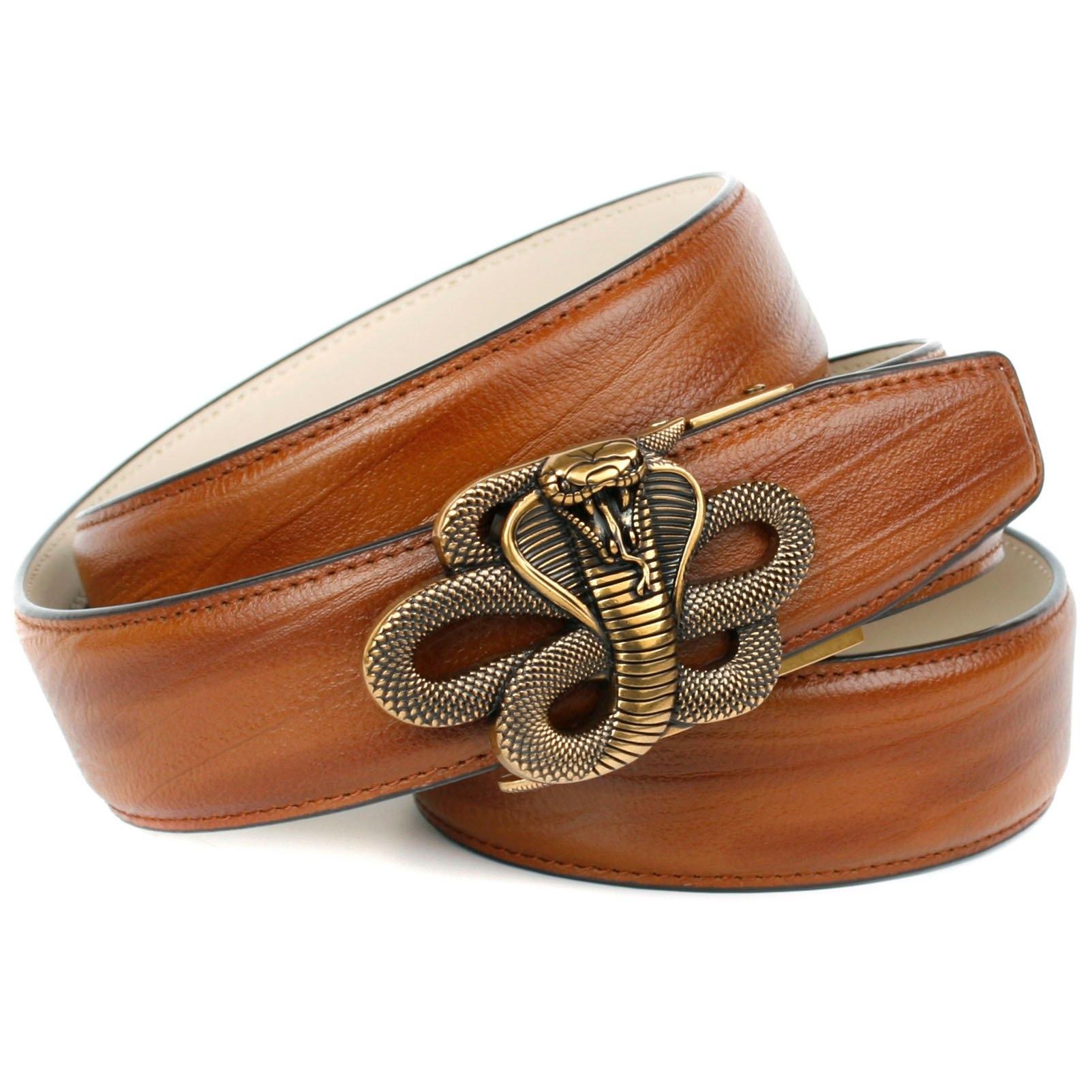 Anthoni Crown leren riem met messingkleurige slangengesp online kopen op otto.nl