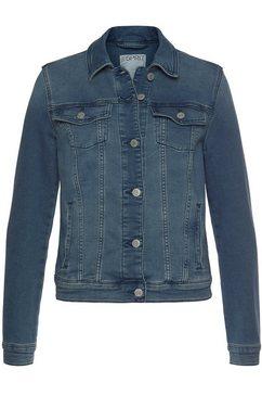 esprit jeansjack van zachte sweat-denim blauw