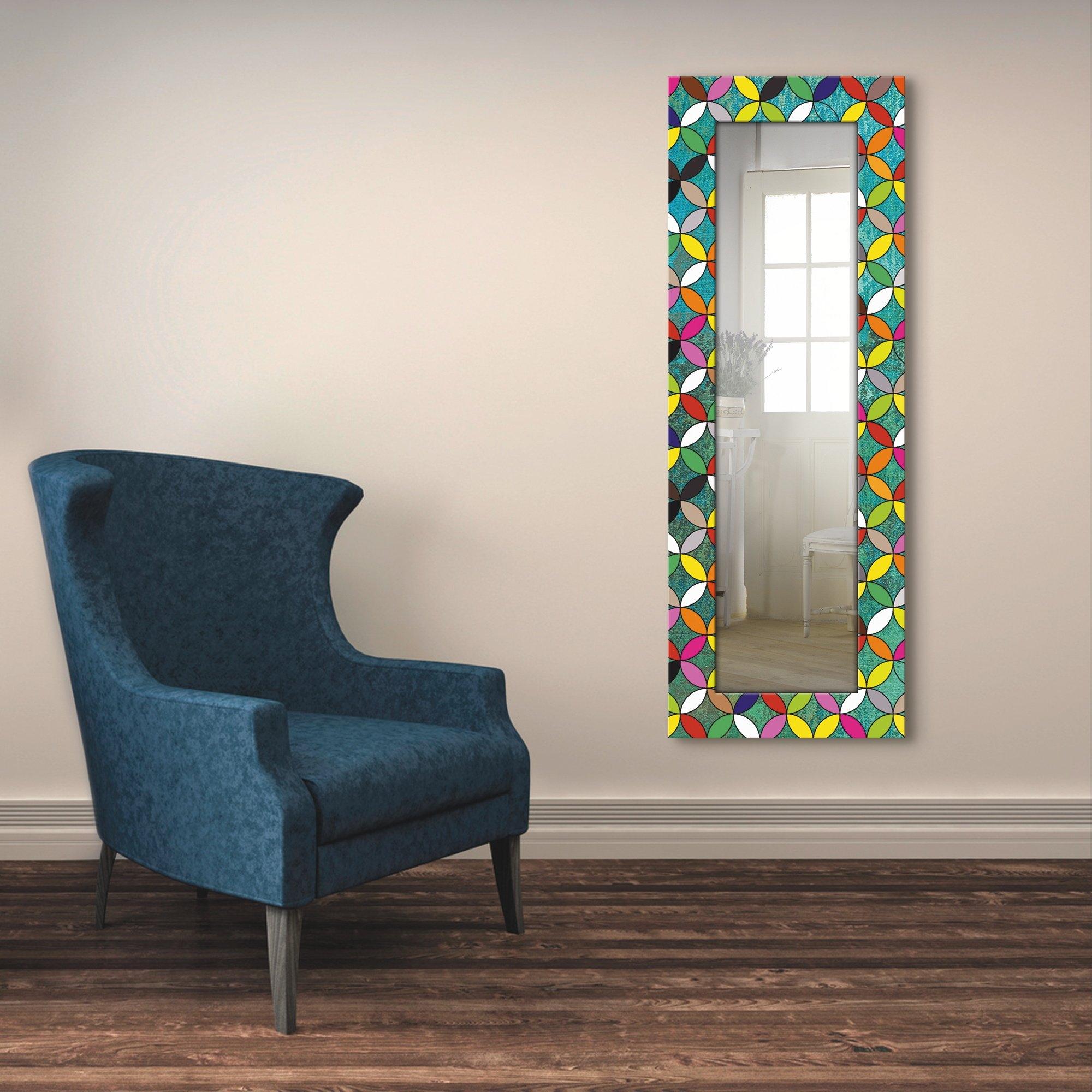 Artland wandspiegel Veelkleurige cirkels op groen ingelijste spiegel voor het hele lichaam met motiefrand, geschikt voor kleine, smalle hal, halspiegel, mirror spiegel omrand om op te hangen goedkoop op otto.nl kopen