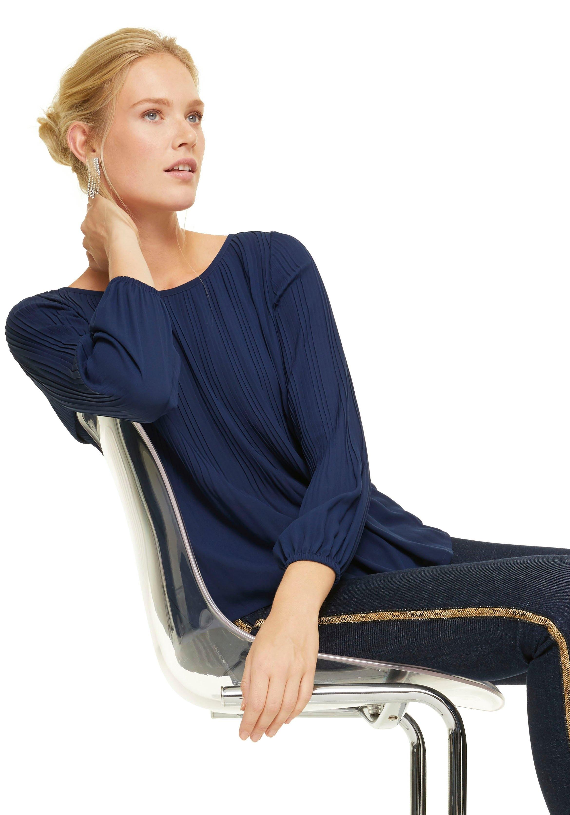 Comma Crêpe-blouse met plisséplooien bij OTTO online kopen
